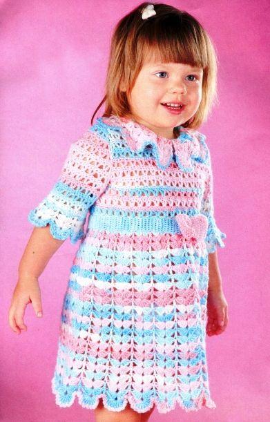 d6ff2bc1a37d0 فستان كروشية للفتيات بالباترون عمر 2-3 سنوات