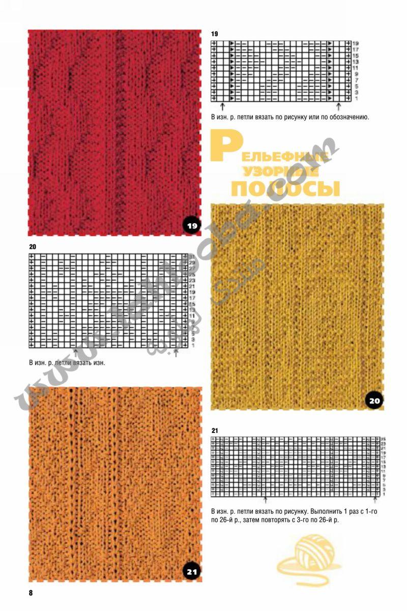 Схемы узоров вязания спицами из лицевых и изнаночных