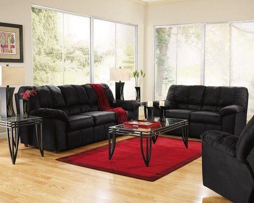 كنب باللون الاسود والاحمر لغرف الجلوس